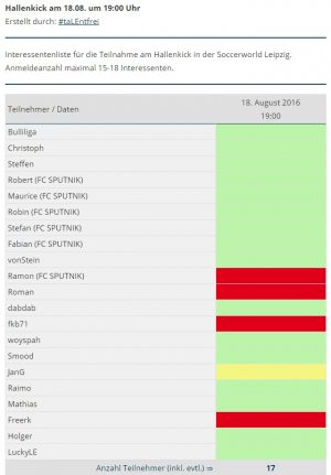 Interessentenliste für den 18.08.2016