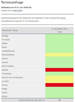 Interessentenliste für den 10.11.2016